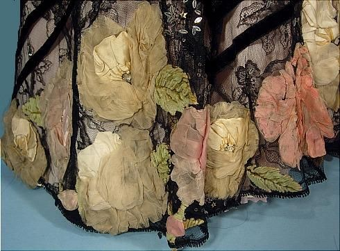Antique Dress - c. 1903/1904 MRS. BAKER, COURT DRESSMAKER, 15 New Burlington Street, W, London Elaborate and Opulent Trained Black Chantilly Lace Evening Gown and Matching Coat Ensemble!