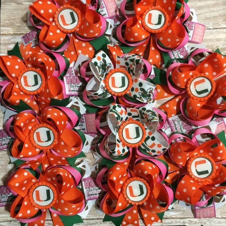 Truly excited to have received a custom order for Breast Cancer Awareness UM canes football hair bows for the UM Canes Color Guard. They will all be wearing them for the UM vs Virginia Tech game on Saturday, October 17, 2015 Honored and Thank You.