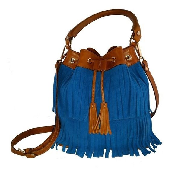 """Handmade Spanish Fringe Bucket Bag Marmott Accessories is a custom handmade Spanish designer bag launched in September 2015. The bag is made from the same leather and craftsmanship as famous Spanish luxury designer brand Loewe, which is exquisite with affordable price.  Deliver from Madrid, Spain to NY in 10 days after placing the order  Product detail: • 10""""x6""""x10"""" • Color: Blue or Green or Burgundy+Brown • Material: 100% Leather • Suede fringe • Tassels drawstring closure • Adjustable…"""