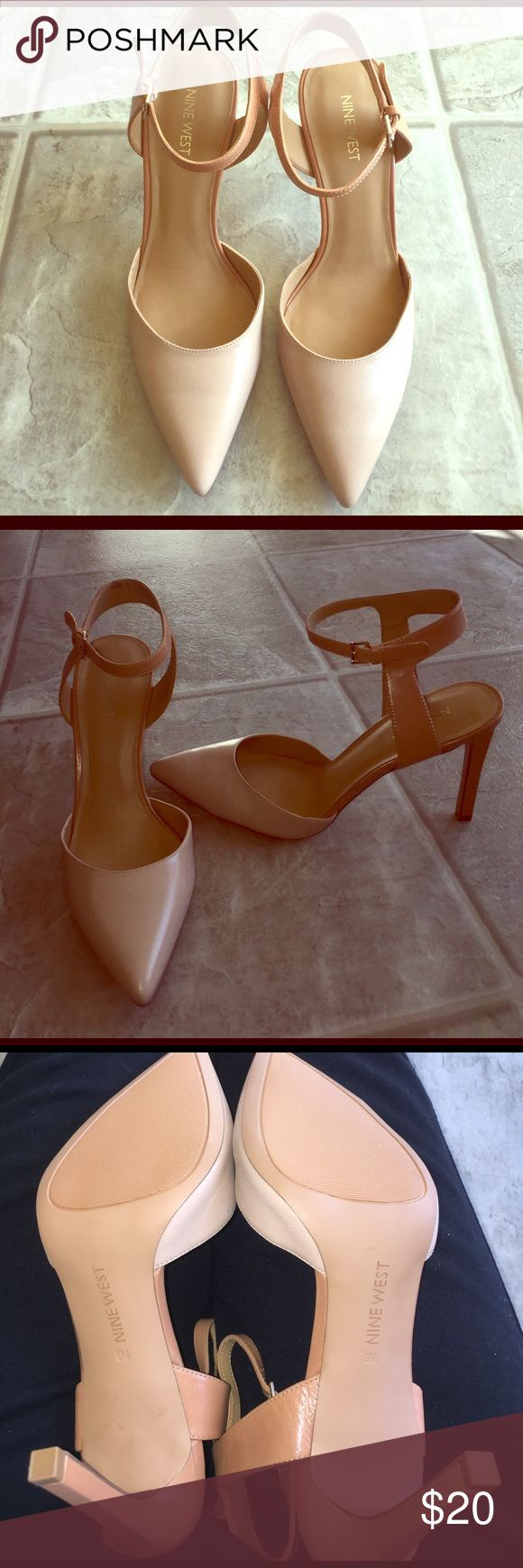 Nude two tones heels NEVER WORN Nine West 2 tone heels with pointed toe. Seriously beautiful shoes (never get a chance to wear them) the two different nude colors make these shoes so unique! Size 9 Nine West Shoes Heels