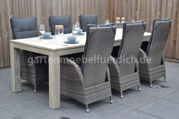 Merida Akazien Gartenholztisch 240 Vintage Antik Mit 6 Bologna Verstellbaren Dining Stuhlen Zweifarbig Grau Garten Mobel Fur Dich Gartenmobel Gartenmobel Design Aussenmobel