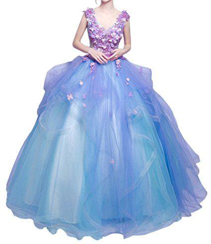 Promgirl House Damen Traumhaft Blumen Prinzessin Ballkleider Abendkleider Festkleider Hochzeitskleider Lang-36 Lila Blau