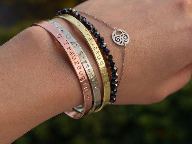 Armreife - Armreif, Armband mit Gravur, Koordinaten, Hochzeit - ein Designerstück von AtelierWhiteMouse bei DaWanda