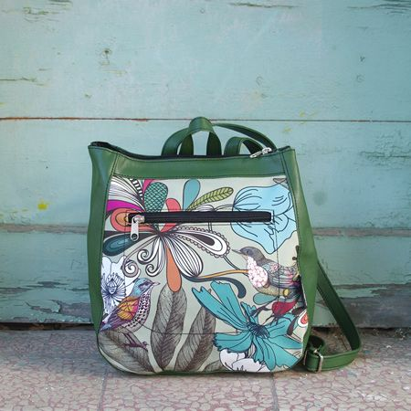 "Backpack ""Early birds4"" This is one of the most adorable bags you have ever seen!  The icon of bird perched and tangled between autumn flowers gives a romantic and relaxed feeling. Beige, green and teal colors combined with the green leatherette, this bag will this line's most original subject."