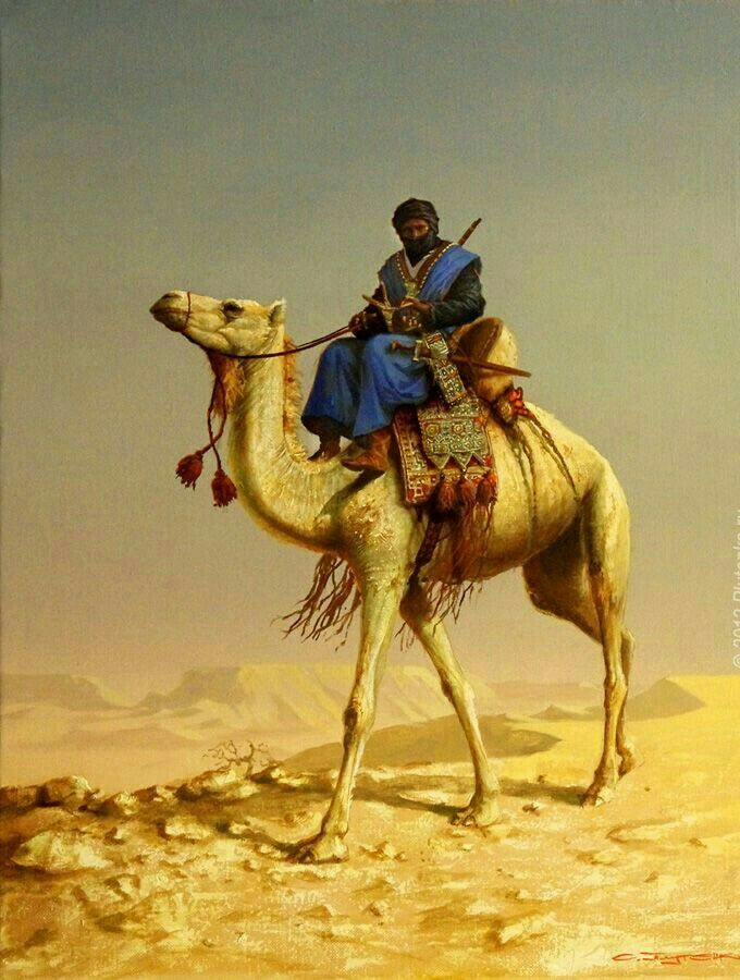 Algerie - Peintre Russe, Stanislav Plutenko ( Né en 1961),huile sur toile 2013, Titre : The Touareg