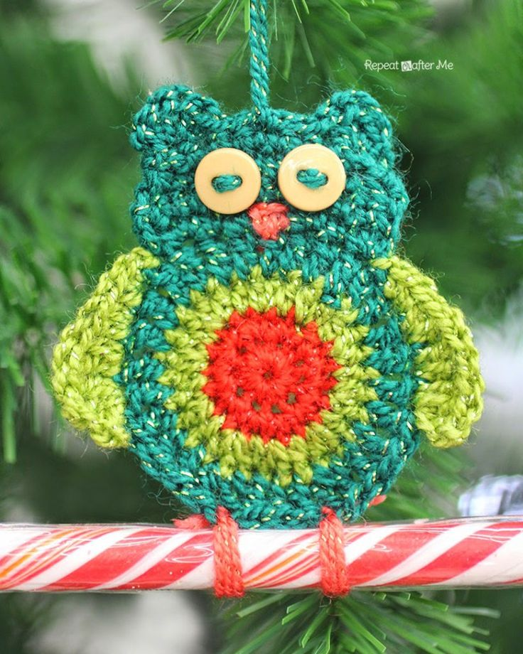 Crochet Owl Candy Cane Ornaments - free pattern from Repeat Crafter Me