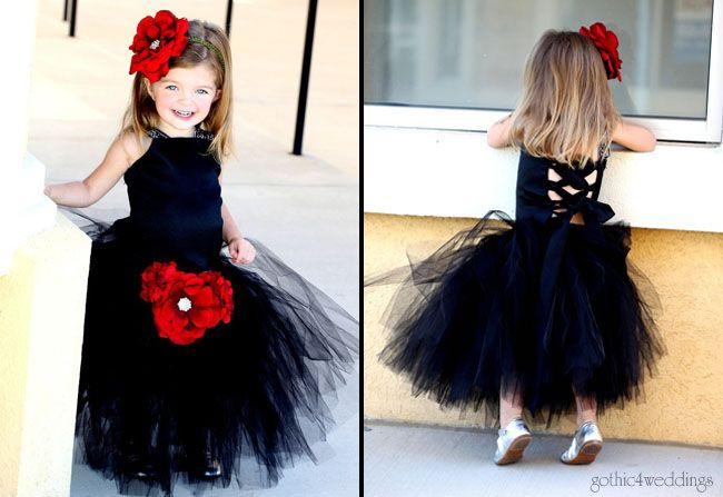 Black Flower Girl Dresses for Gothic Weddings