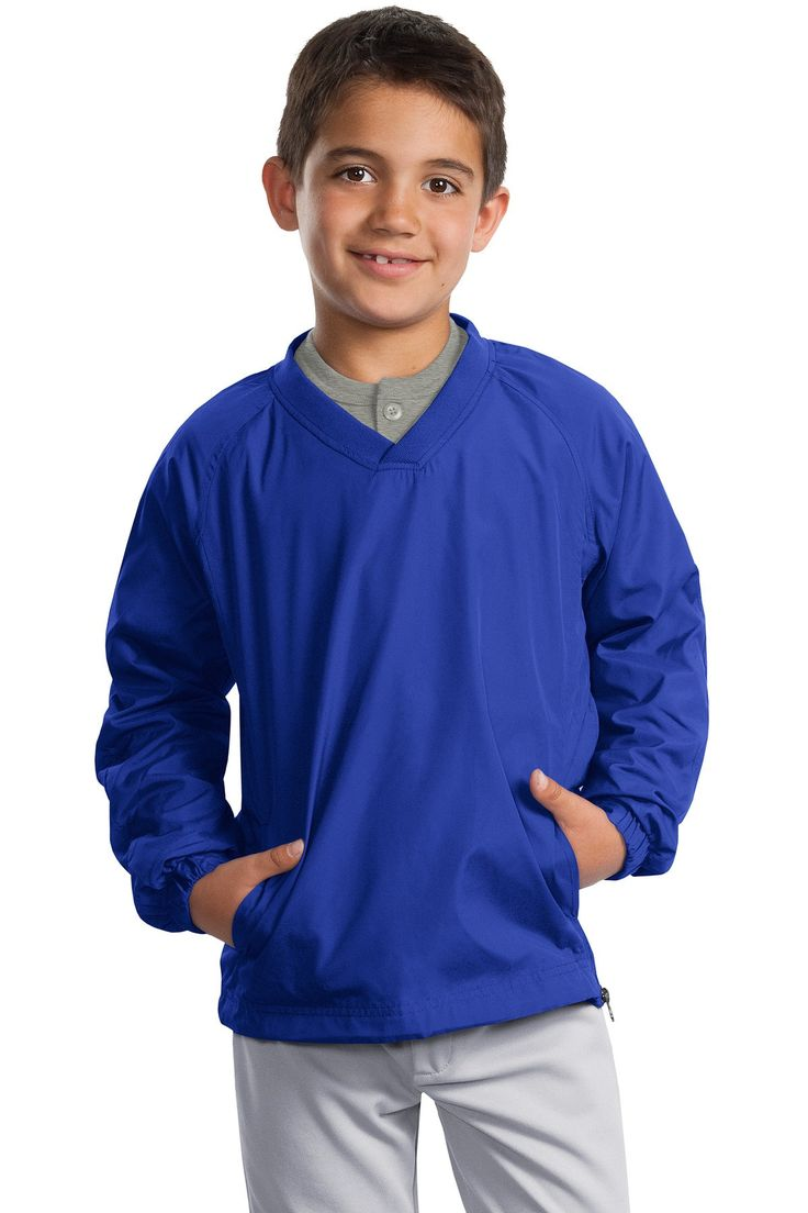 Sport-Tek Youth V-Neck Raglan Wind Shirt. YST72 True Royal