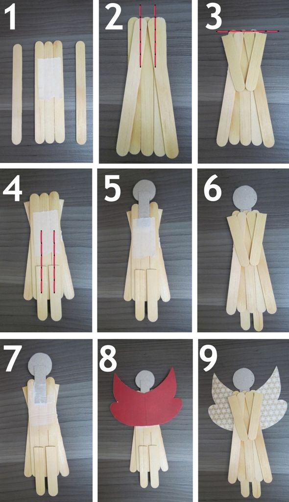 Step by step pictures of how to do popcicle angels