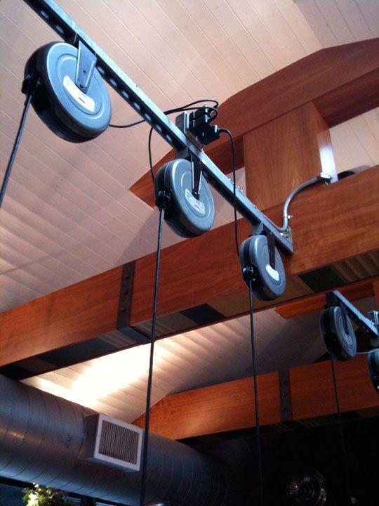 industrial garage lights in a restaurant