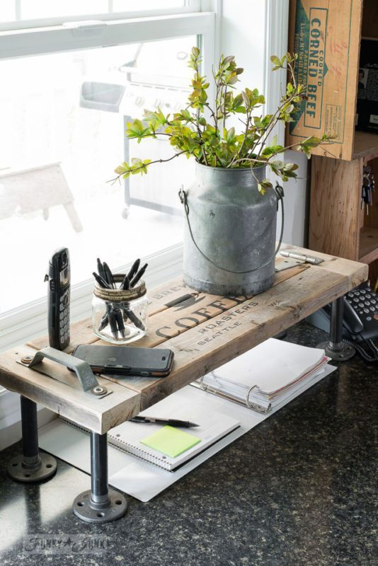 2x4 industrial phone station shelf / Rustically cool projects from 2x4s! By Funky Junk Interiors for Ebay