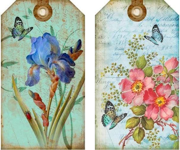 12 повесить/подарочные теги для скрапбукинга коттедж шикарный цветочный изображений (793-На отлично)