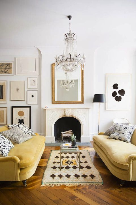 Ali Cayne West Village Townhouse Living Room With Mustard Yellow Velvet  Sofas, Gold Mirror, And Moroccan Rug On Thou Swell Part 55