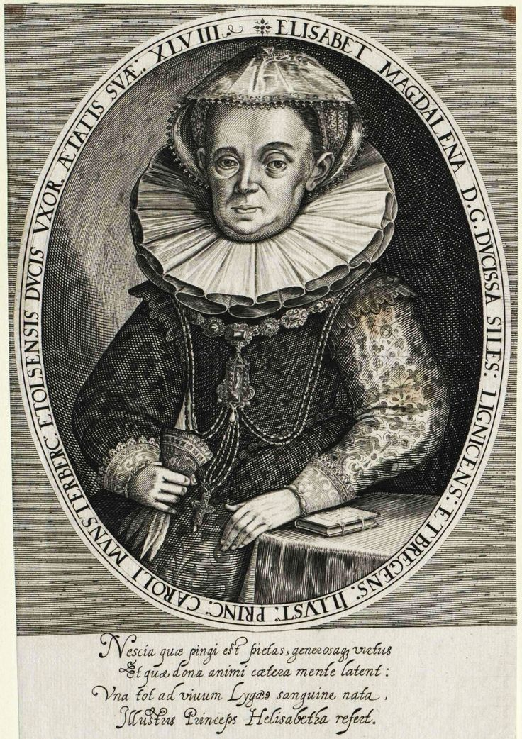 Elizabeth Magdalene of Liegnitz-Brieg (Legnica-Brzeg), Duchess of Münsterberg-Oels (Ziębice-Oleśnica) at the age of 48 by Anonymous, 1610 (PD-art/old), Österreichische Nationalbibliothek