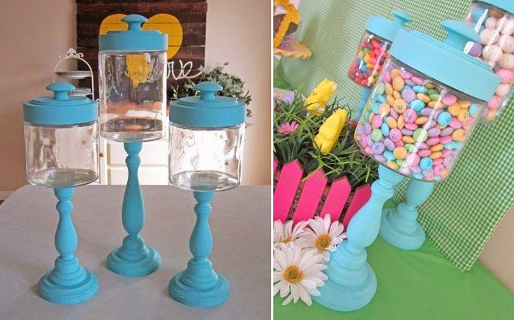 DIY: Faça você mesmo baleiro com potes de vidro e castiçais de madeira