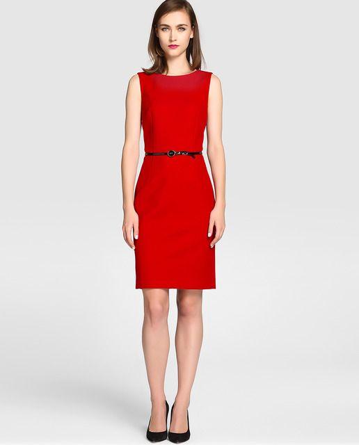 Vestido recto en color rojo