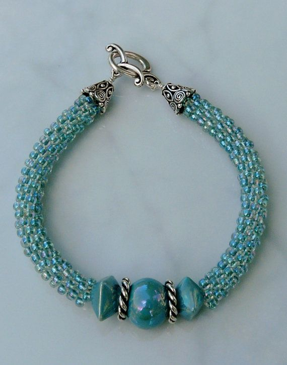 Kumihimo beaded bracelet Seafoam by ChatterboxBeadDesign on Etsy, $30.00