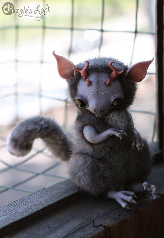POSEABLE Ferret Dragon Cub OOAK Unique Art Toy Doll