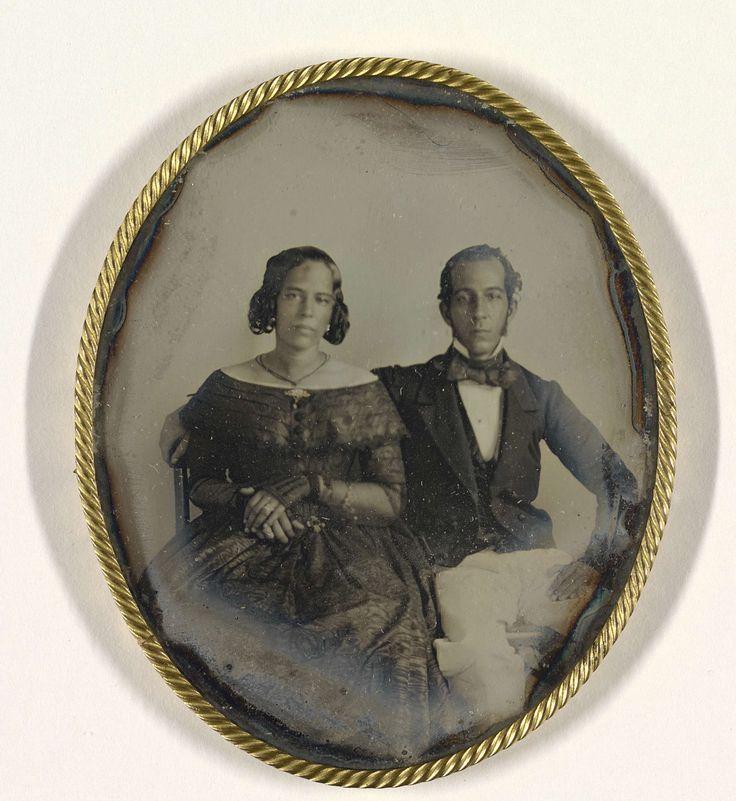Portret van het echtpaar Johannes Ellis en Maria Louisa de Hart, possibly J.L. Riker, c. 1846