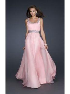 Chiffon Scoop Neckline Floor Length Prom Dress