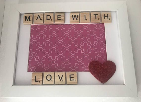 Made With Love Scrabble Frame. Ideal for scan picture or new baby arrival