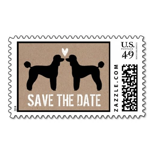 Standard Poodles Wedding Save the Date Postage