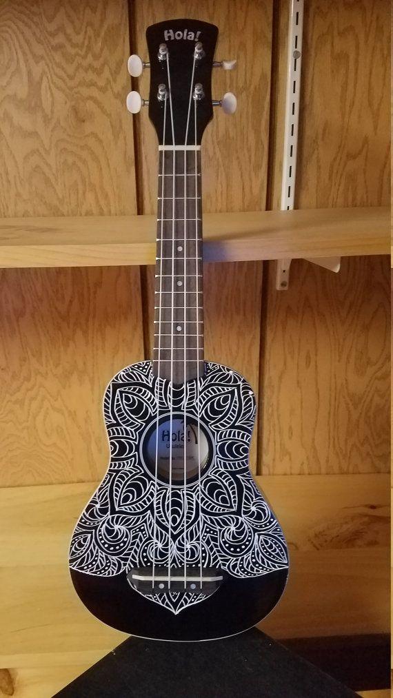 Ukulele, Painted Ukulele, Black Ukulele, Mandala Ukulele, Decorated Soprano Ukulele, ukulele instrument, ukelele, ukalele