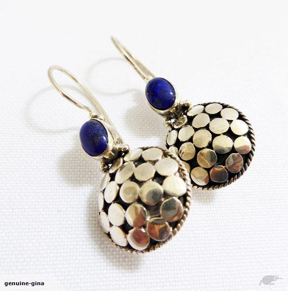 Large Sterling Silver & Lapis Lazuli earrings handmade