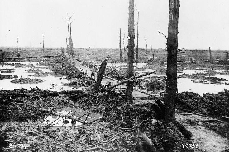 A bridge across the mud flats in Flanders, Belgium, in 1918.