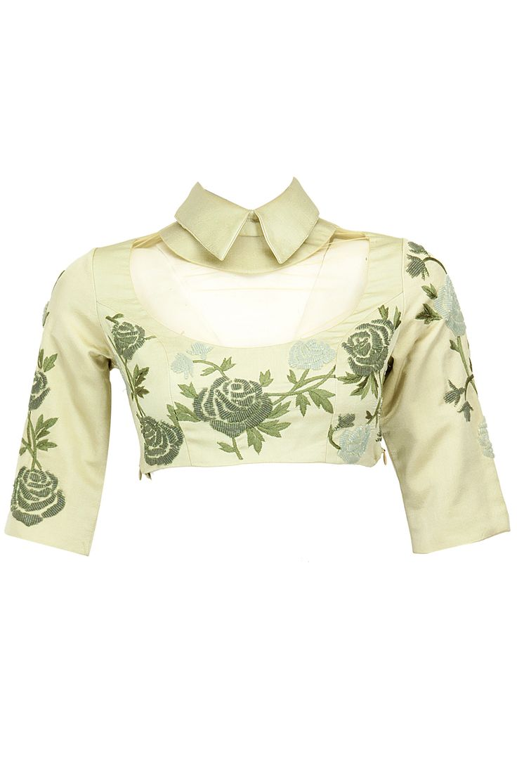 Sage beaded cropped collared blouse with sheer yoke available only at Pernia's Pop-Up Shop.