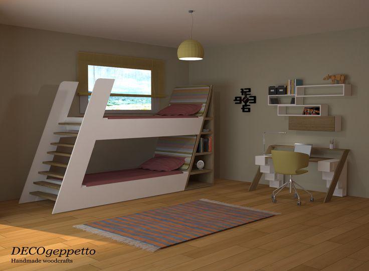 Σύνθεση κουκέτας και γραφείου , μοναδικού design by DECOgeppetto , σε συνδυασμό λευκής λάκας και δρυς