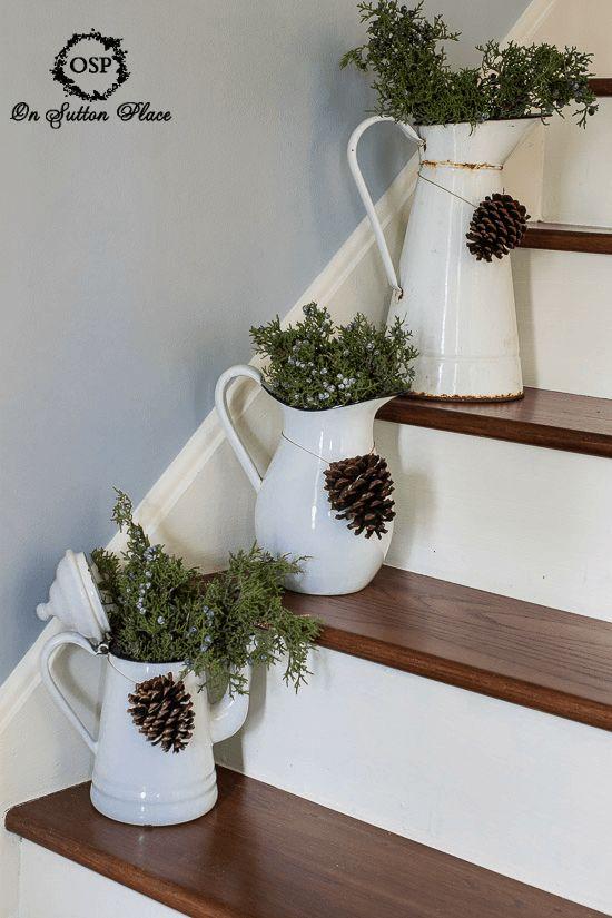 Fresh juniper in vintage enamelware. Easy DIY Christmas decor! (Step Stairs Basements)