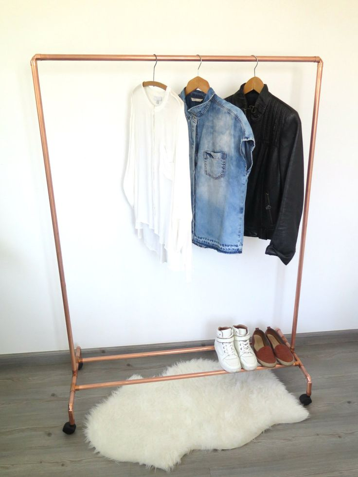 Garment rack made from real industrial copper pipes and fittings. This garment rack includes a shoe rack and wheels as well. The rack can easily be assembled/dismantled within less than 2 mins and its definitely durable if someone needs the racks to be setup, transferred multiple times at booths and fairs. ~ DIMENSIONS ~ 140cm height | 90cm length | 40 width (pipe thickness is 22mm)  ** I am more than happy to receive CUSTOM ORDERS i.e. height,width,depth if you email me the dimensions**...