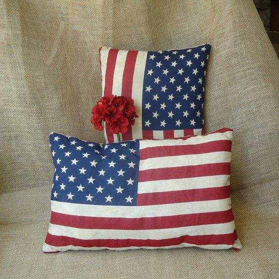 Patriotic American Flag decor, holiday decor, small pillows, American Home, summer decor on Etsy, $12.00