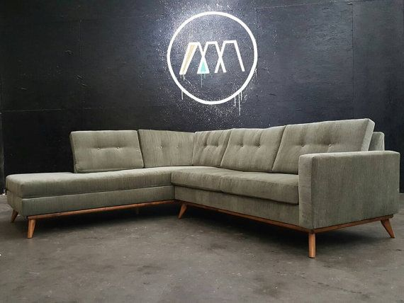 Mid Century Modern Sectional Chaise Sofa by TDFurniture on Etsy