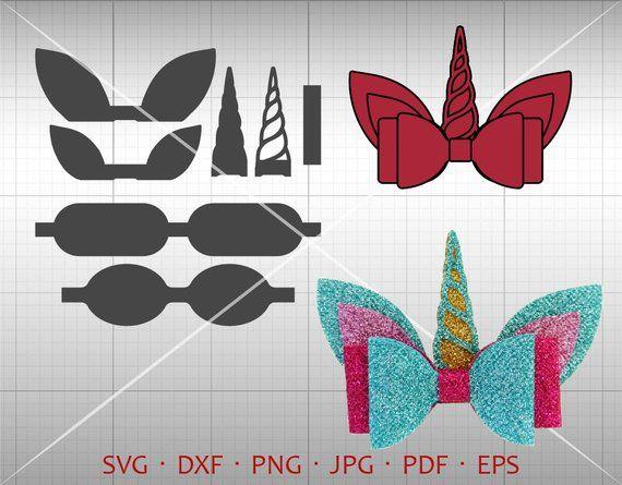 Cricut Cut File Silhouette DXF Download Clip Art Ribbon Faux Leather Baby Cheer Glitter Bows Stencil Template DIY Unicorn Bow Template