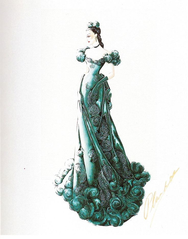 Walter Plunkett originally designed Scarlett's dress for Ashley's birthday party in the jade green color described by Margaret Mitchell in the novel. David O. Selznick wanted to emphasize Scarlett's shame in the scene, and ordered the dress to be changed to red. With Mitchell's permission, Plunkett redesigned the costume.    Courtesy A.M.P.A.S