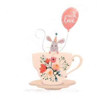 """Adorable party mouse in a tea-cup and a balloon """"with love"""""""