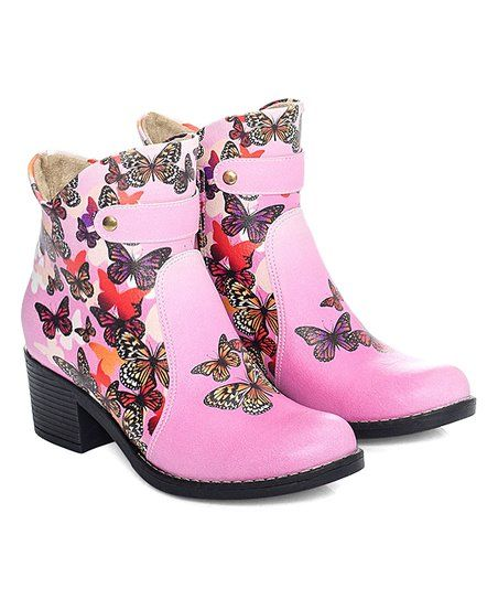 Cotto Pink Butterfly Bootie | zulily
