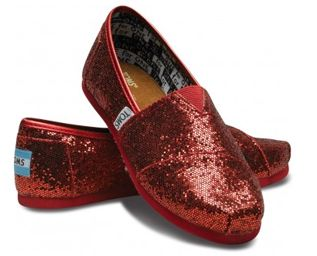 Red Toms Glitter Shoes For Women Cheap