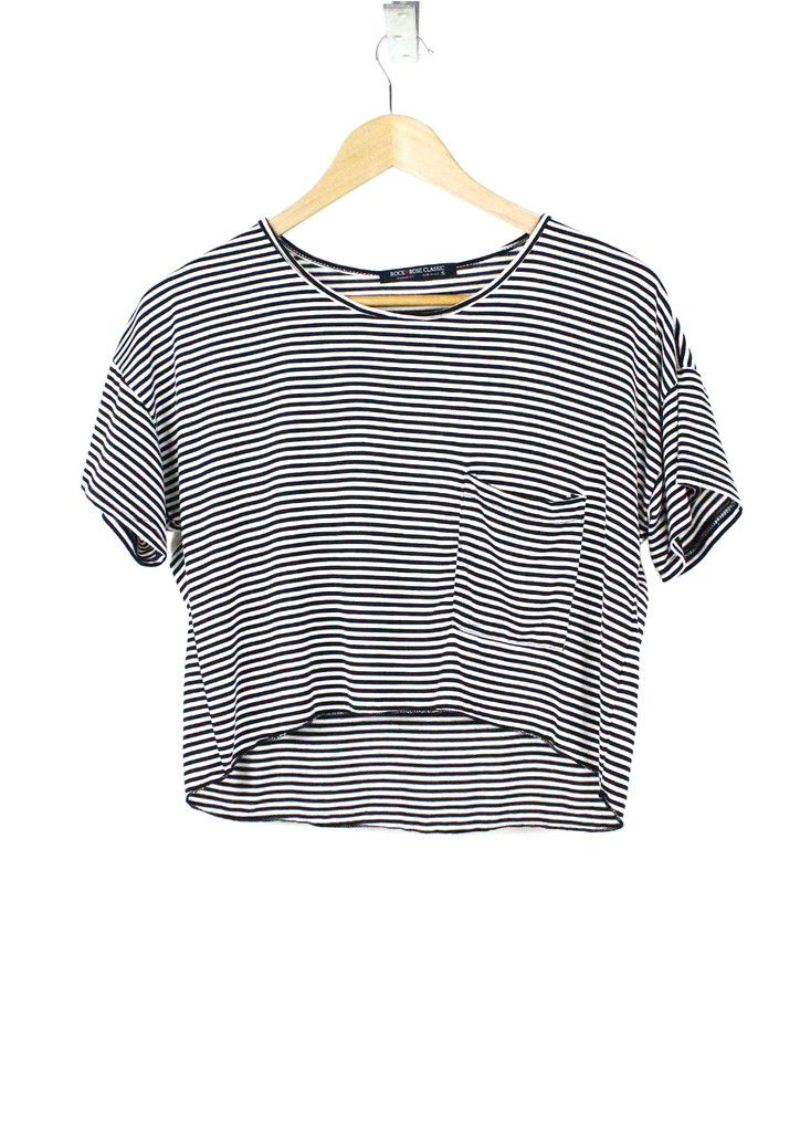 When your morning time is running out, effortlessly layer this cute and comfy striped crop top over a solid/neutral T-shirt dress or simply throw it on with your favorite skinny jeans or wide-leg trousers for an ultimate relaxed-chic look.  The front chest pocket, asymmetrical hem, and round-neck features give an adorable finish to the classic stripes.