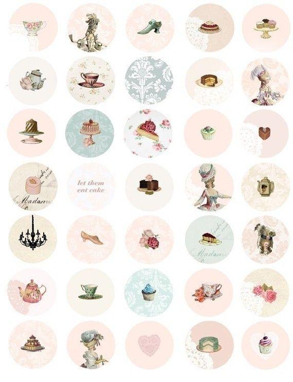 Marie Antoinette tea party 1 inch button circles