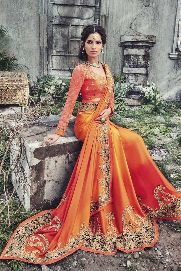 Orange Satin Saree