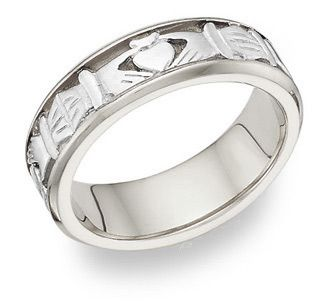 Celtic Claddagh Wedding Band Ring - 14K White Gold