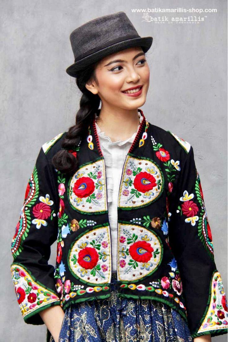 Batik Amarillis made in Indonesia The most anticipated Batik Amarillis's Traveller skirt in hand drawn batik Gedog Tuban and Batik Amarillis's Arcana jacket in Linen which features Hungarian's Matyo culture and Embroidery inspired-Batik Amarillis webstore www.batikamarillis-shop.com