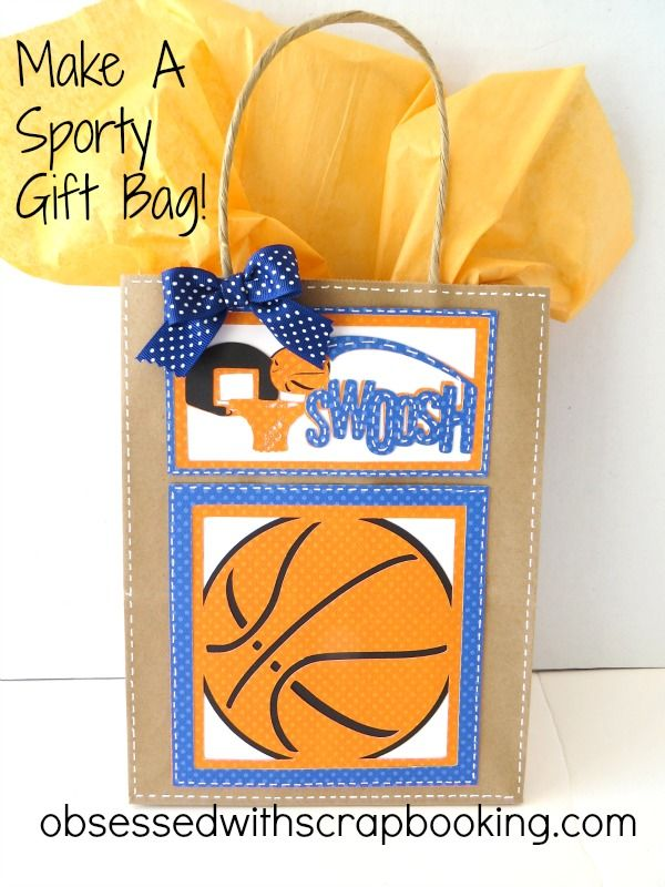 Obsessed with Scrapbooking: Make A Swoosh Basketball Gift Bag!