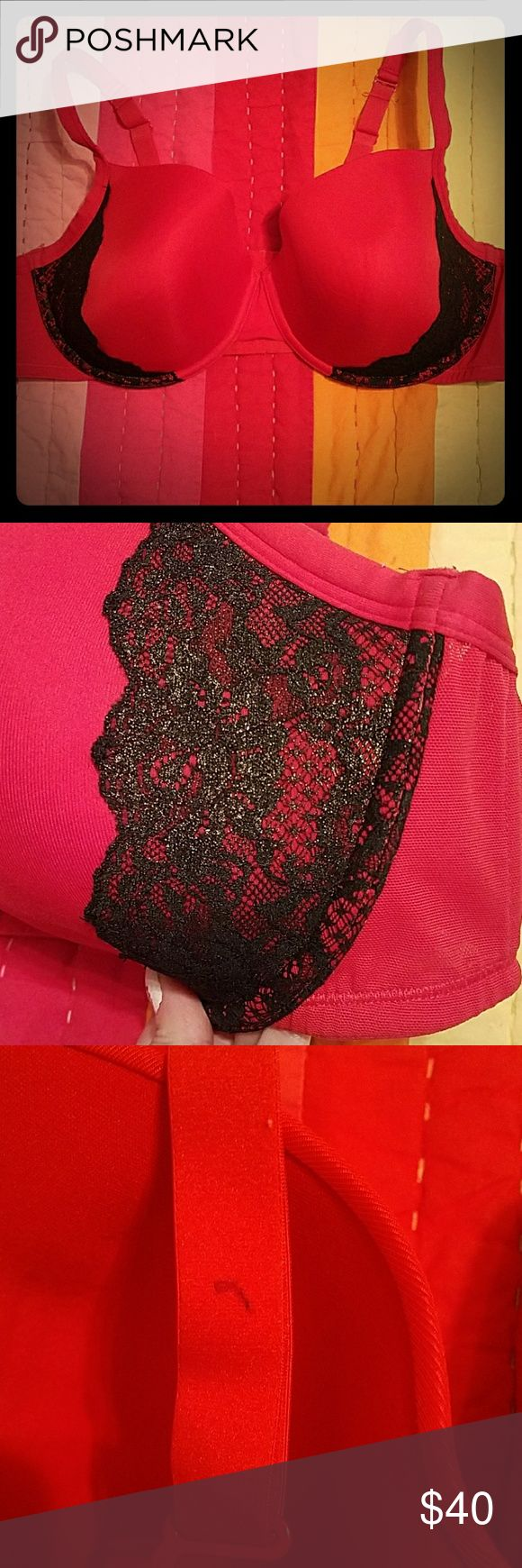 Sexy lacy red plus size bra, like new This is a Cacique (Lane Bryant) bra that is now too big for me since I've lost 60 lbs. I don't wear red often, so it was only worn a handful of times on Valentine's Day. It's red with black/gold lace on the sides. It has molded cups with no padding. Cacique Intimates & Sleepwear Bras