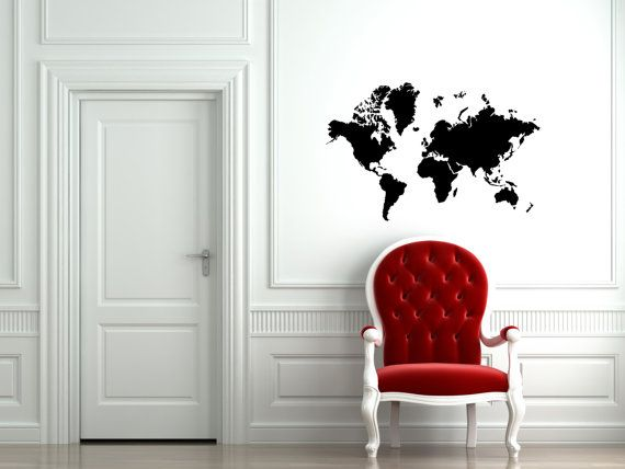 World Map Wall Decal  Small - 22 wide x 14 height Large - 34 wide x 22 height *If you would like to customize the size or amount please message