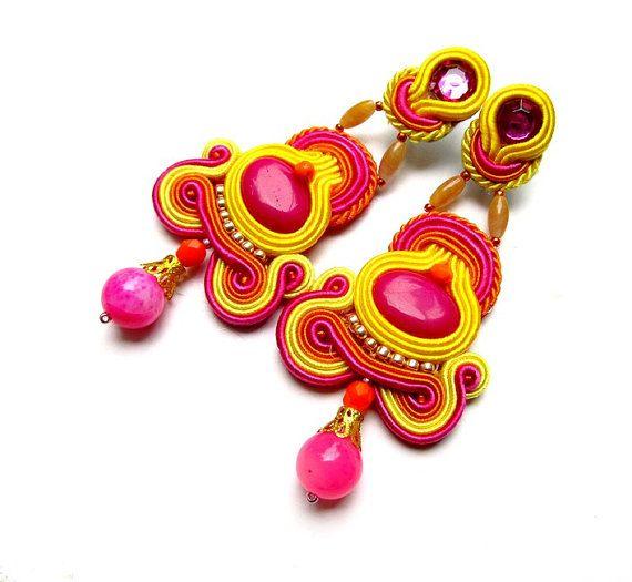 Soutache Clips Earrings Energetic with Beads Soutache Morganite Gems Braid Stylish Hand Made Jewelry Toho Handmade Jewelry Colorful Soutage