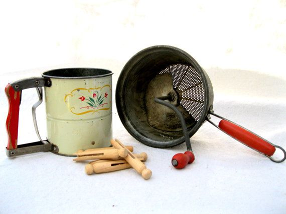 Vintage Retro Kitchen Tools Sifter Food Mill Red by tessiemay, $24.00